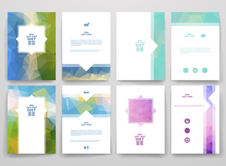 healthy meal: Set of brochures in poligonal style on diet theme. Beautiful frames and backgrounds.