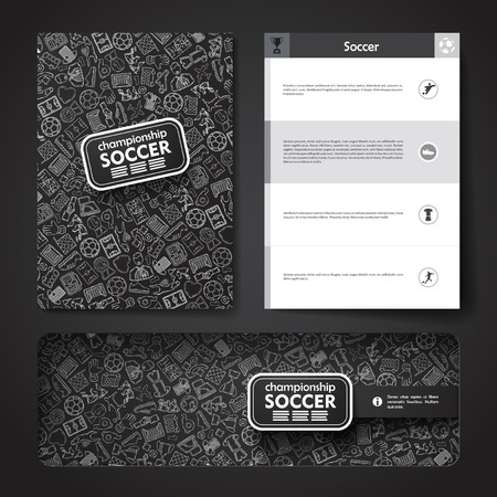 marketing target: Vector template with hand drawn doodles soccer theme. Target marketing concept.