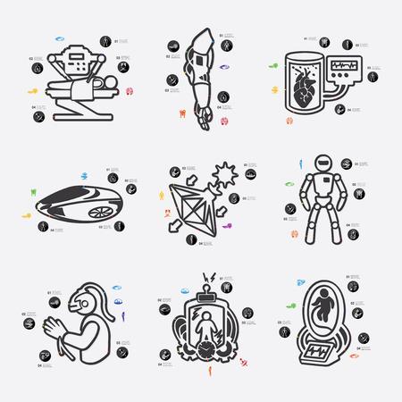 progressive art: invention line infographic illustration. Fully editable vector file Illustration