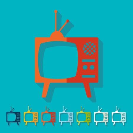 television antigua: Dise�o plano: viejos tv