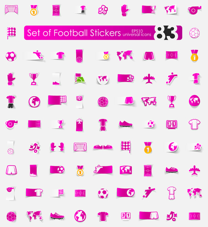 linesman: football vector sticker icons with shadow. Paper cut