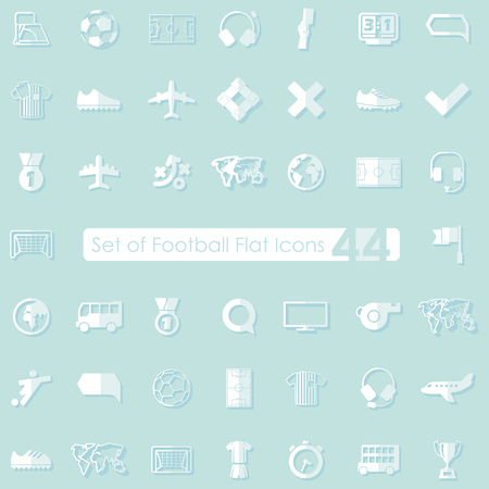 match preview: Set of football flat icons for Web and Mobile Applications Illustration