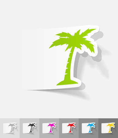 palm paper sticker with shadow. Vector illustration Illustration
