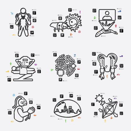 invention: invention line infographic illustration. Fully editable vector file Illustration