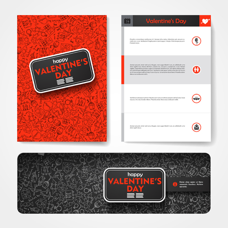sensation: Vector template with hand drawn doodles Valentines Day theme. Target marketing concept.