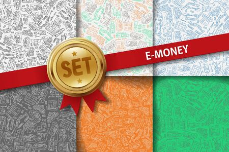 solvency: Set of e-money backgrounds with hand drawing icons in different colors Illustration
