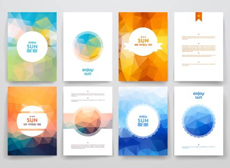 Set of brochures in poligonal style on sun theme. Beautiful frames and backgrounds
