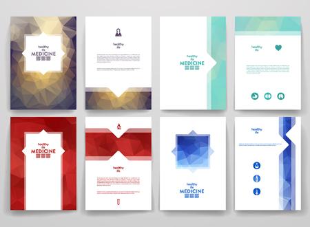 medicina: Conjunto de folletos en el estilo poligonal en tema de la medicina. Hermosos marcos y fondos