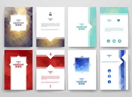medical emergency service: Set of brochures in poligonal style on medicine theme. Beautiful frames and backgrounds