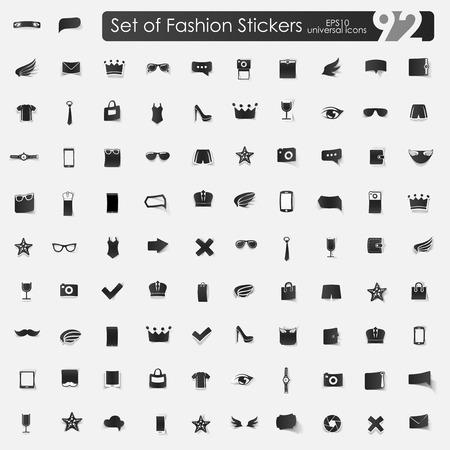 fashion set: Set of fashion stickers