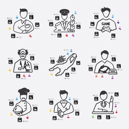 fully editable: professions line infographic illustration. Fully editable vector file