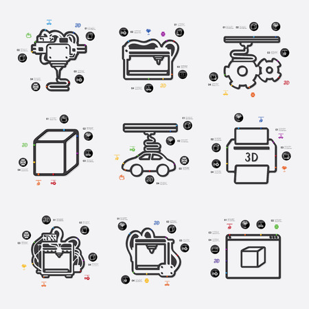 blasting: three d printer line infographic illustration. Fully editable vector file
