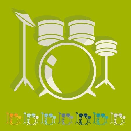 drum set: Flat design: drum set