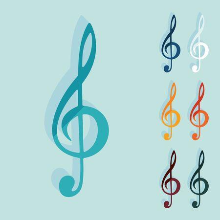 treble: Flat design: treble clef