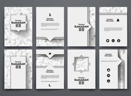 periodicos: Diseño del vector folletos con garabatos antecedentes sobre el tema ramadan