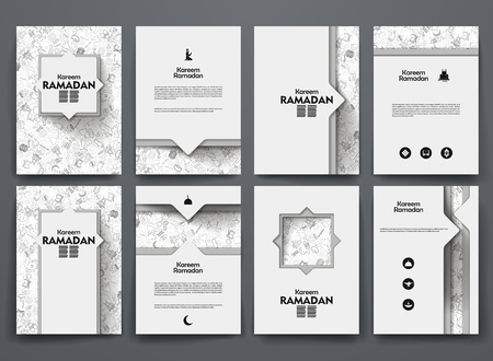 islamic pray: Vector design brochures with doodles backgrounds on ramadan theme