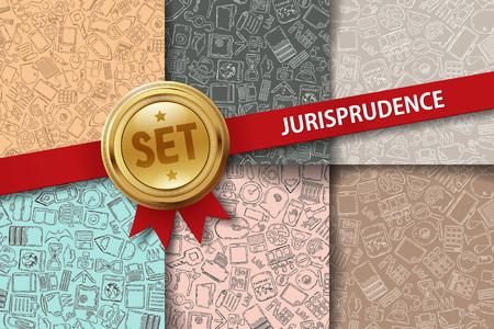 jurisprudencia: Conjunto de fondos jurisprudencia con iconos de dibujo a mano en diferentes colores Vectores