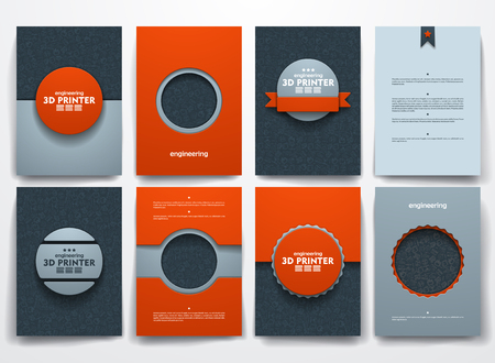 three d: Vector design brochures with doodles backgrounds on three d printer theme