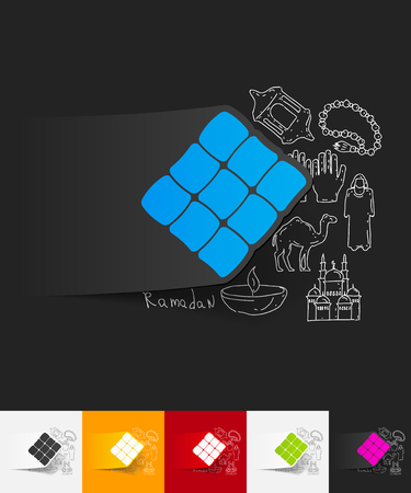 hand drawn simple elements with ketupat paper sticker shadow Illustration