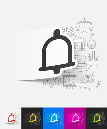 sonorous: hand drawn simple elements with bell paper sticker shadow