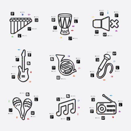 workmanship: music line infographic illustration. Fully editable vector file