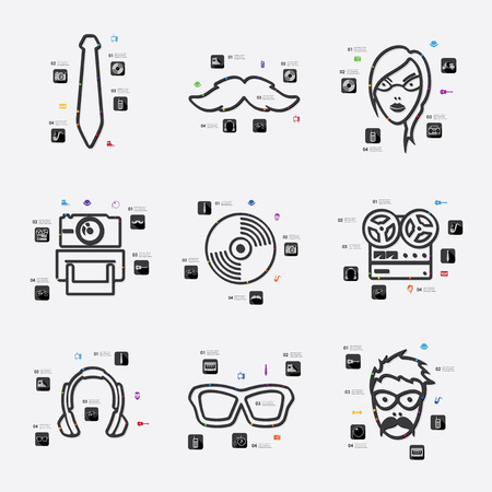 criticism: hipster line infographic illustration. Fully editable vector file Illustration