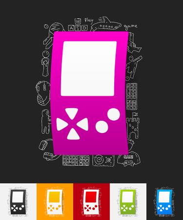 input device: hand drawn simple elements with video game paper sticker shadow