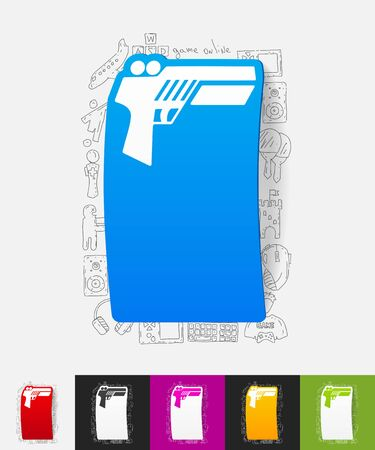 input device: hand drawn simple elements with gun game paper sticker shadow