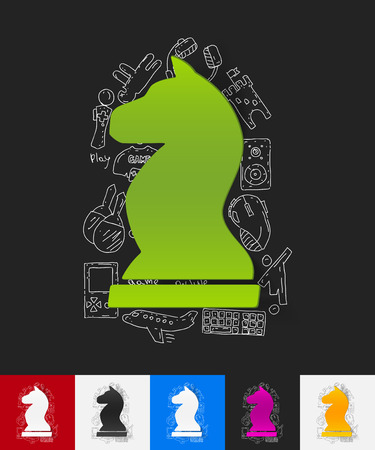 shah: hand drawn simple elements with chess paper sticker shadow