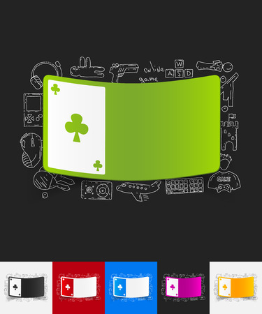 playing card: hand drawn simple elements with playing card paper sticker shadow