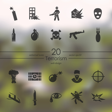 pictogram people: terrorism modern icons for mobile interface on blurred background