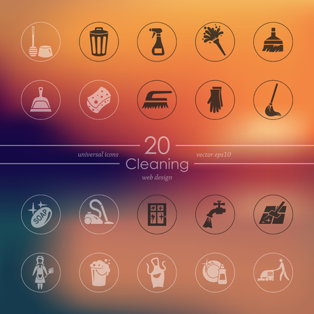 cleaning service: cleaning modern icons for mobile interface on blurred background