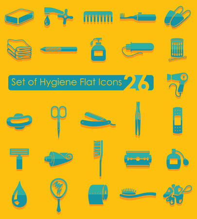 epidemiology: Set of hygiene flat icons for Web and Mobile Applications
