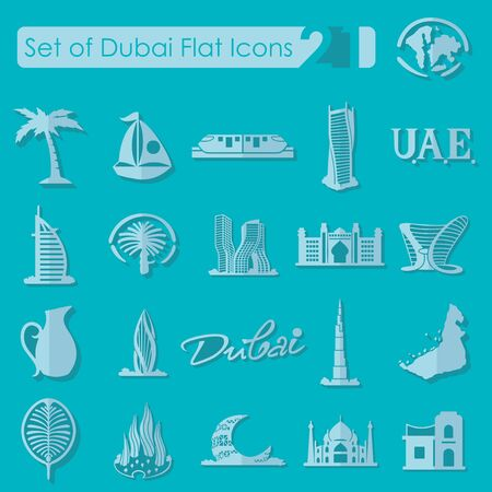 united arab emirate: Set of Dubai flat icons for Web and Mobile Applications Illustration