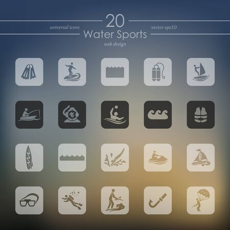 water sports modern icons for mobile interface on blurred background