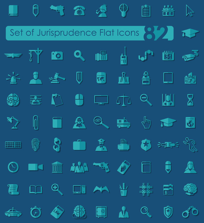 jurisprudencia: Conjunto de iconos planos jurisprudencia para aplicaciones Web y m�viles