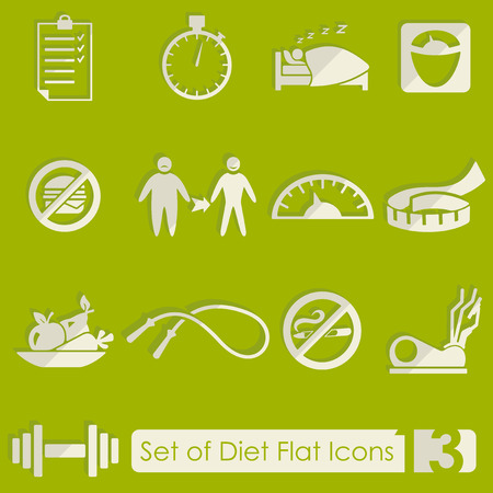 temperance: Set of diet flat icons for Web and Mobile Applications Illustration