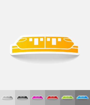 monorail: monorail train paper sticker with shadow. Vector illustration Illustration