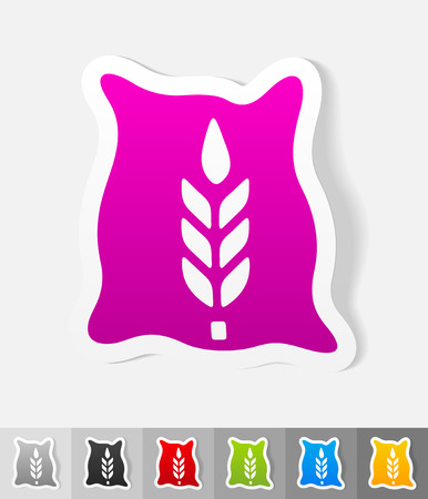 grain storage: bag of grain paper sticker with shadow. Vector illustration