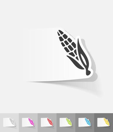 choclo: ma�z etiqueta de papel con sombra. Ilustraci�n vectorial Vectores