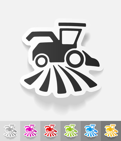 combine-harvester paper sticker with shadow. Vector illustration