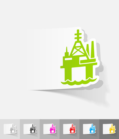 oil derrick: oil derrick in sea paper sticker with shadow. Vector illustration Illustration