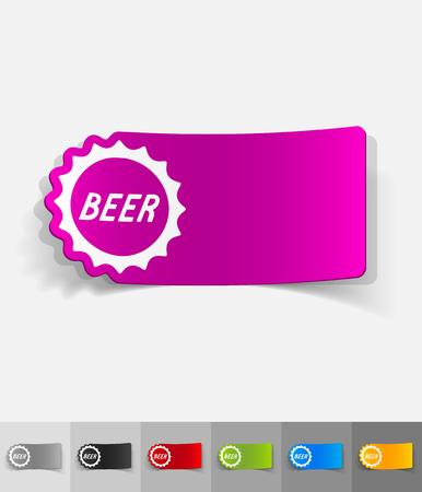 litre: bottle cap paper sticker with shadow. Vector illustration