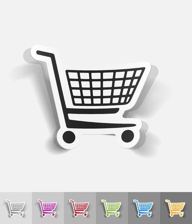 retail shopping: shopping trolley paper sticker with shadow. Vector illustration Illustration