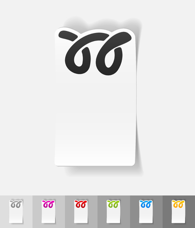 bagel: bagel papier sticker met schaduw. Vector illustratie Stock Illustratie