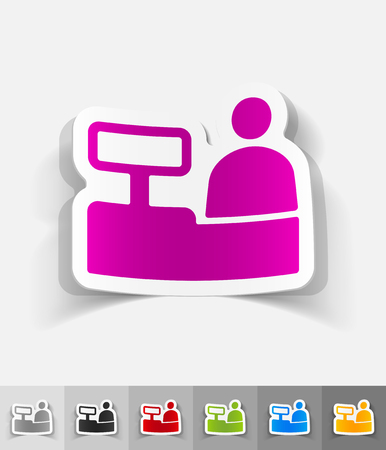salesman behind the counter paper sticker with shadow. Vector illustration Illustration