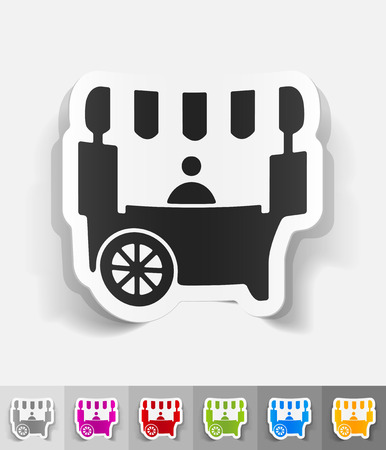 specialty store: shop on wheels paper sticker with shadow. Vector illustration