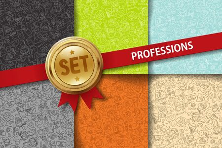 professionalism: Set of professions backgrounds with hand drawing icons in different colors Illustration