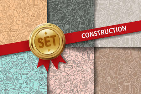 premises: Set of construction backgrounds with hand drawing icons in different colors