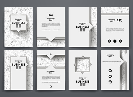 Vector design brochures with doodles backgrounds on business theme Ilustração